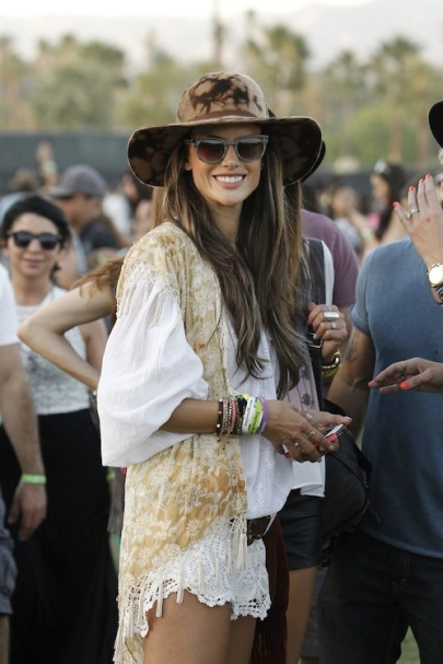 Model Alessandra Ambrosio is seen with her friends attending Coachella Valley Music and Arts Festival in Indio